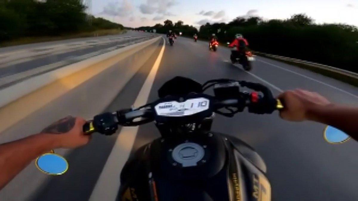 Şile yolunda motosikletçilerden tepki çeken hareketler